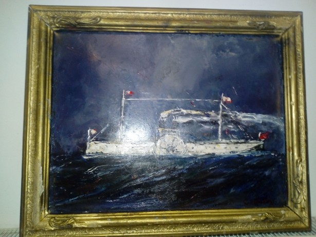 Marina romana, pictura semnata