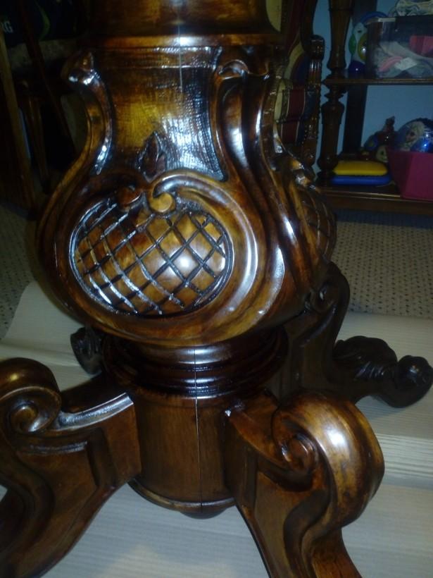 Masa baroca sculptata lemn cu intarsie sec XIX+4 scaune