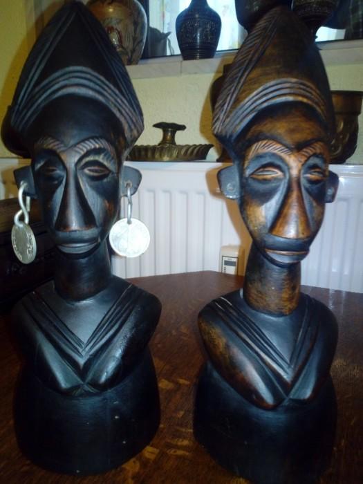 Set Statui africane abanos sculptate 30 cm