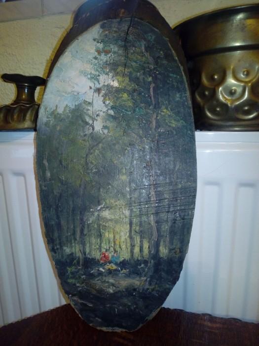 Pictura pe lemn natur ,copac
