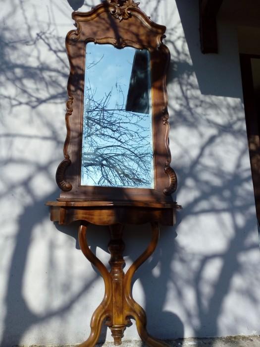 Oglinda antica  Rococo cu consola