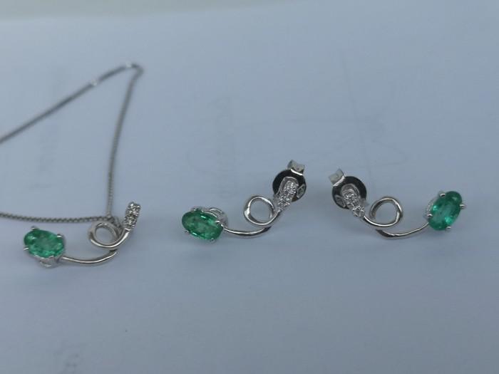 Set  cercei colier aur 18k cu smarald natural și diamante