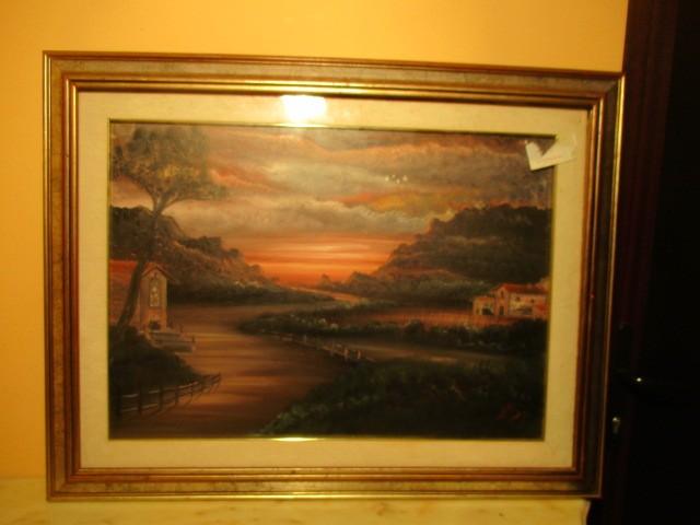 tablou ulei pe panza cu rama de lemn 89 69 cm