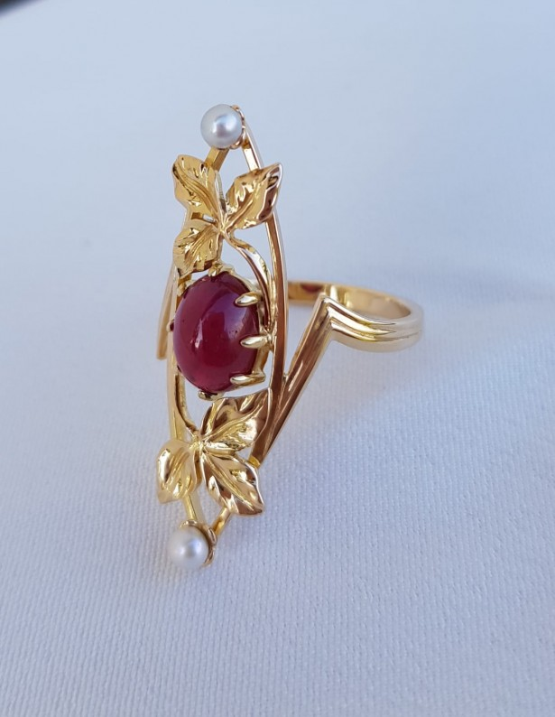 Inel din aur galben de 18K cu rubin natural si perle