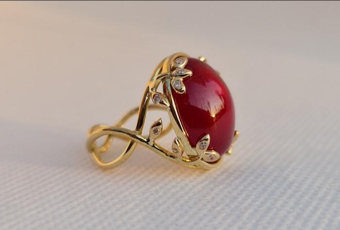 (Rezervat)Inel aur galben 18k rubin diamante naturale