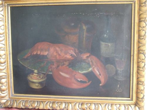 Tablou - Natura moarta cu homari - Jeana Baculescu