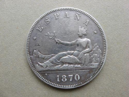 Moneda din argint, 5 Pesetas Spania 1870.
