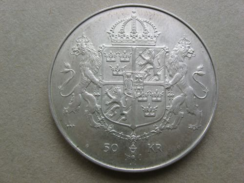 Moneda din argint, 50 Koroane Suedia 1976, necirculata.