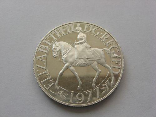 Moneda jubiliara din argint, Anglia 1977. Necirculata.