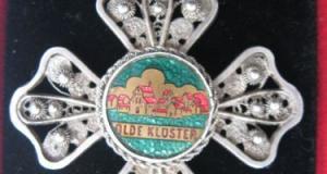 Cruce veche, jubiliara, din argint, lucrata in filigran, (Germania)  OLDE KLOSTER , pe verso gravat