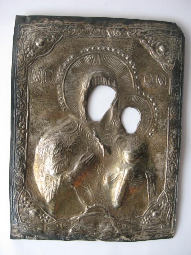 Masca de icoana, veche, secol XIX,  confectionata din argint