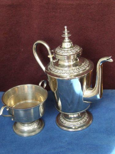Set zaharnita si ibric, placate cu argint, provenienta Anglia, perioada anilor 1950. Dimensiuni: ibr