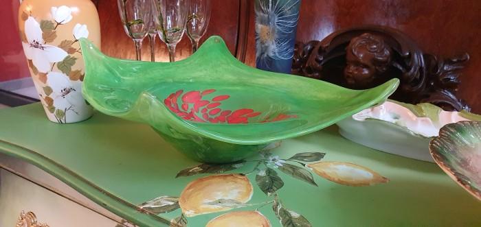Fructiera sticla Murano verde