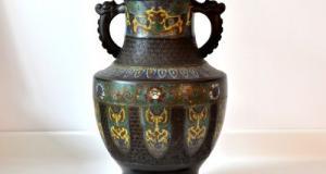 Vaza japoneza cloisonne cu dragoni 01476