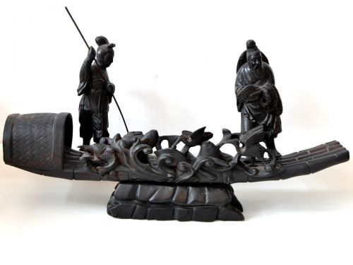 Sculptura din lemn pescari chinezi 01609