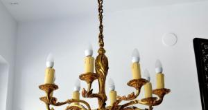 Candelabru bronz aurit 01702