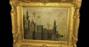 Ulei pe panza un tablou foarte vechi cu o rama deosebita lata,55 cm cu 37