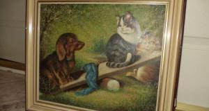 Deosebit tablou pictura in ulei lucrare semnata,45 cm cu 37