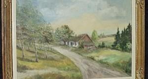 Ulei pe panza un tablou foarte vechi,lucrare semnata cu o rama din lemn masiv,69 cm cu 44