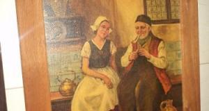 Un tablou deosebit antic litografiat,stare exceptionala ,rama din lemn masiv,85 cm cu 65