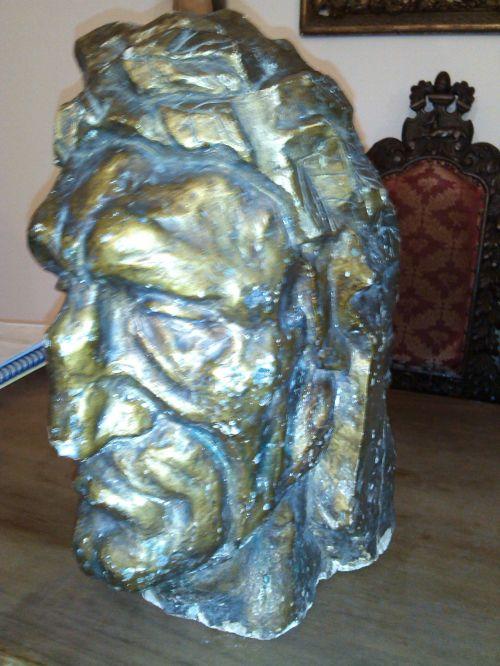 Sculptura gips patinat Cap de barbat antic