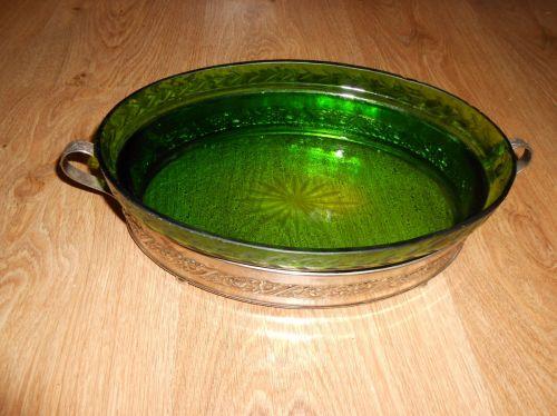Fructiera ovala cu sticla verde