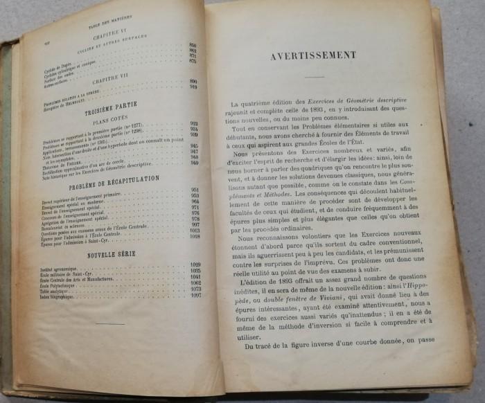 1909 Exercices De Geometrie Descriptive Paris Matematic