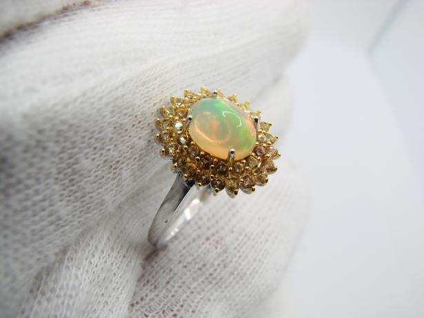 inel argint 925 cu opal si safire masura 17.5