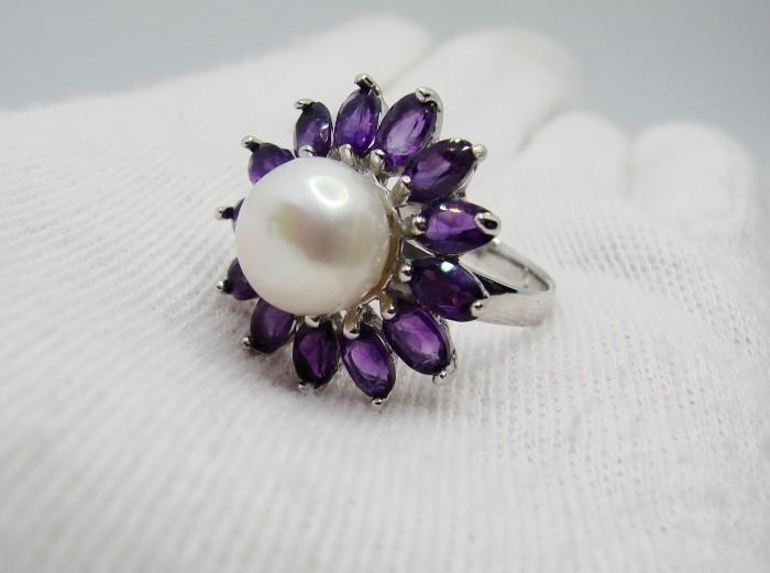 925 inel argint cu perla si ametist masura 18