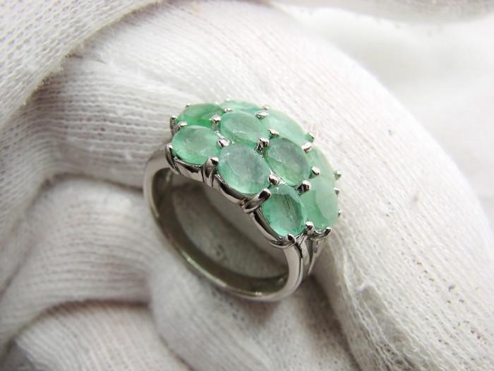 925 inel argint cu smarald masura 17