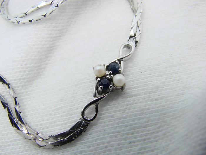 925-bratara cu perla si safir