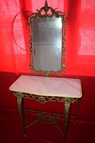 Consola si oglinda din bronz cu blatul din marmura 73x75x36