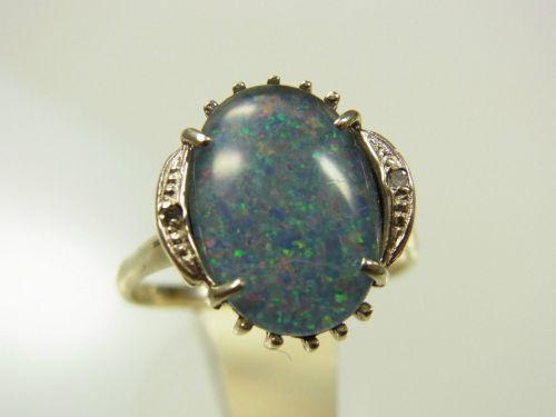 Inel aur alb 14k piatra opal diamante mici anul 1970