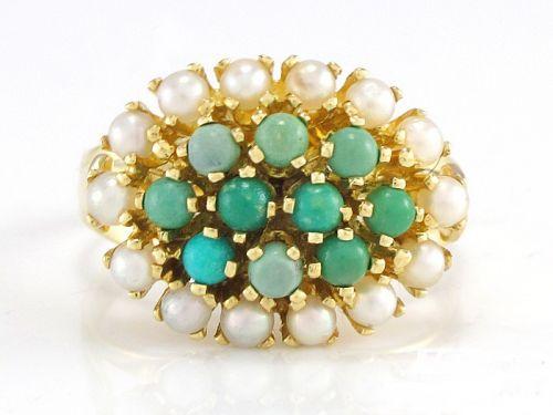 Inel aur 14k vintage cu pietre turcoaz si perle reducere