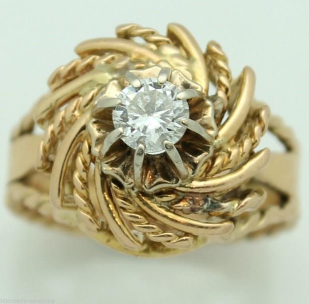 inel antik aur 18k  cu diamant 0,40crt