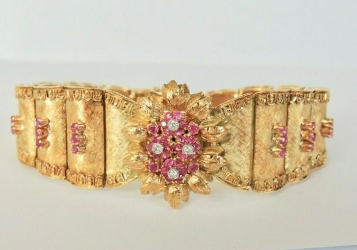 bratara aur 18k antica cu rubine si diamante superba
