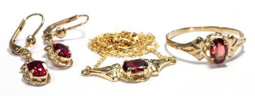 Set bijuterii aur 8crt cu pietre granat antic art deco reducere