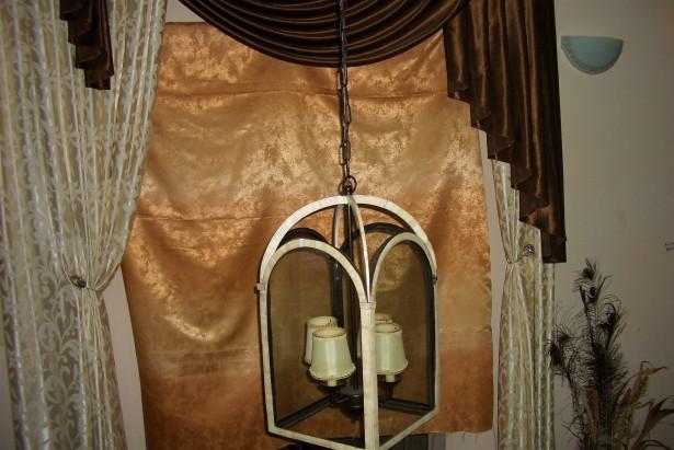 Lustra candelabru Art Deco Colonial, placata fildes, dimensiuni ample