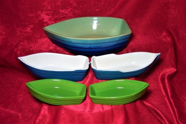 Nautica! Set servit Art Deco Mid Century, ceramica glazurata Franta