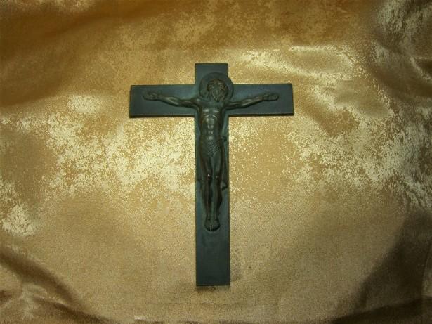 Crucifix Bronz Art Deco Franta, Mid Century Modern, Colectie, Vintage