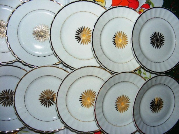 12 farfurii Gold KPM Germany, 1840 - 1895