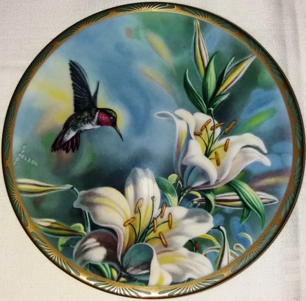 Placa decor cu semnatura  Cyndi Nelson Pickard Lilies Bird
