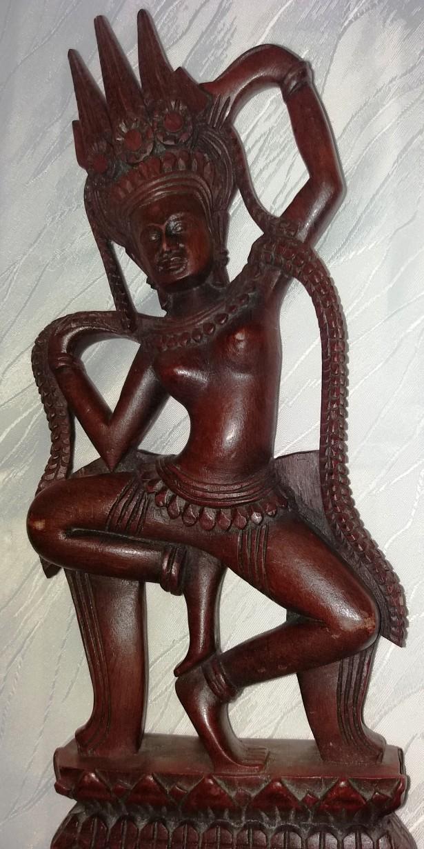 Rar! Sculptura in lemn. Dansatoare de zeița thailandeza, H=41cm.