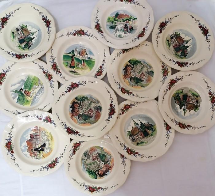 11 farfurii vintage  Sarreguemines Franța, Obernai.