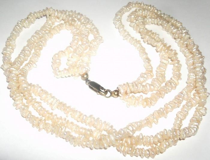 colier vechi perle albe rare baroc marunte
