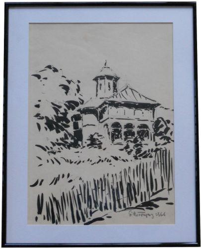 Tablou Stefan Mironescu 1904-1985 Bisericuta - 32x42 cm - tus pe hartie