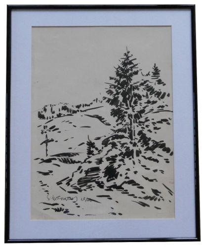 Tablou Stefan Mironescu 1904-1985 Peisaj - 32x42 cm - tus pe hartie