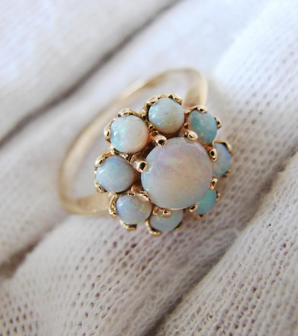 fermecator inel aur 14k cu opal natural  opale