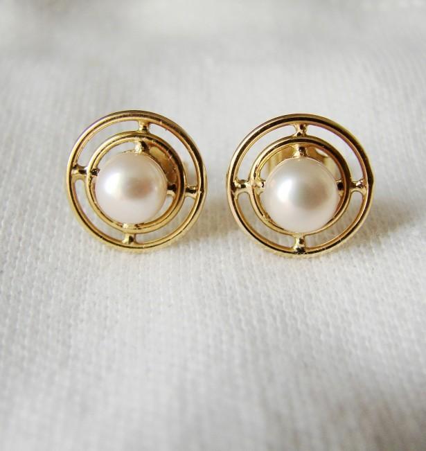 Victorian Cercei Aur 18K Cu Perle Naturale Germania