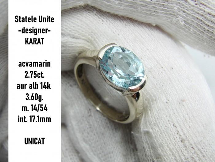designer inel aur ALB 14k cu aquamarin